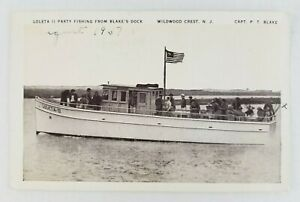 Postcard Party Fishing Boat Blake#x27;s Dock Wildwood Crest New Jersey 1937