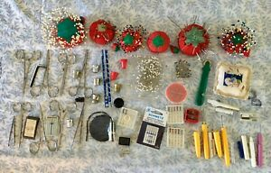 Large Lot of Sewing Supplies Pins amp; Pincushions Needles Thimbles Scissors $25.99
