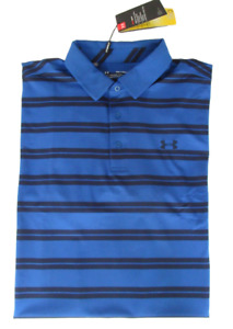 New Under Armour Golf Polo Shirt Blue Stripe 1287383 Mens 2XL $65 $44.95