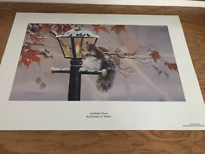 Christopher B Walden Signed Numbered Lithograph CANDLELIGHT DINNER Squirrel snow $15.00