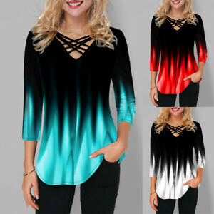 Womens Tie Dye Print V Neck Tunic Top Summer 3 4 Sleeve Casual T shirt Blouse $14.89