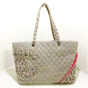 Auth CHANEL Cambon Tweed Tote LightGray Multi Tweeds Womens Tote Bag $1063.00