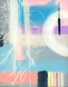 Abstract Acrylic Original Painting Soft Pastel Colours for Modern Home