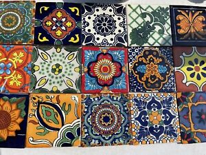 10 Assorted Mexican Ceramic 4x4 inch Hand Made Tiles