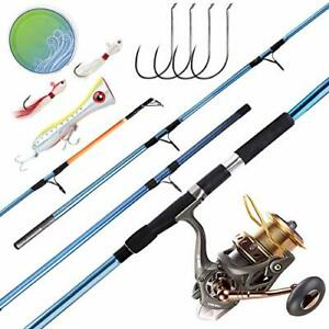 Saltwater Surf Fishing Rod and Reel Combos Full Kit 12ft Blue Fishing Rod