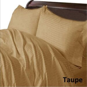 1000 TC Pretty Taupe Linen Collection Egyptian Cotton Striped Select Item
