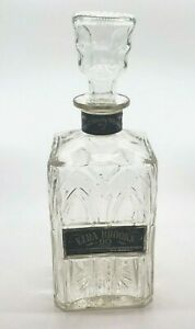 Ezra Brooks 90 Proof Empty Liquor Bottle Decanter Clear Glass With Stopper