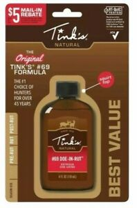 Tinks Deer Lure #69 Doe in rut 4fl Oz Squirt Top Bottle W6202 Free Shipping