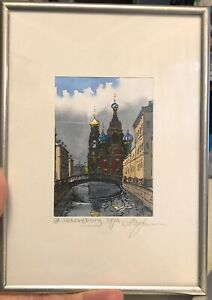 Small Painting St Petersburg 1994 Signed Gouache Mixed Media $29.99