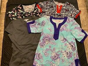 KOI By Kathy Peterson Stretch Women#x27;s SCRUB TOP Lot of 4 Short Sleeve Size M