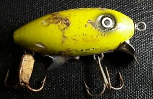 VINTAGE STRIKE KING SPENCE SCOUT WOOD LURE 2.25quot; YELLOW