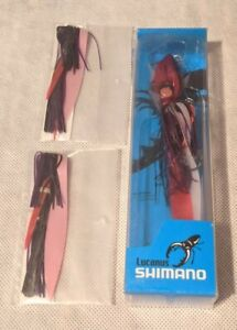 Shimano Lucanus Chartreuse 80g Jig and 2 Replacement Skirts Purple Red Color