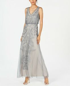 Adrianna Papell Beaded Blouson Gown MSRP $299 Size 6 # 9NA 240 Blm $59.99