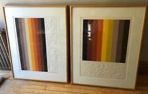Lot of 2 Large Modern Abstract Art Embossed Signed Audrey Grendahl Kuhn $450.00