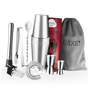 11 Pieces Cocktail Shaker Bar Sets in Gift Package Stainless Steel Chrome