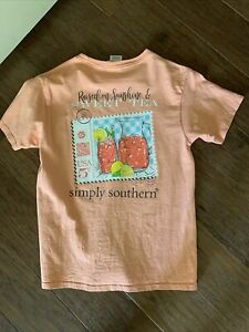 Simply Southern Shirt Youth Orange Medium Sweet Tea ☕️ Great Condition