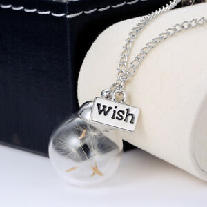 Wish Glass Real Dandelion Seeds Chain In Glass Wish Bottle Necklace Pendant Gift C $1.94