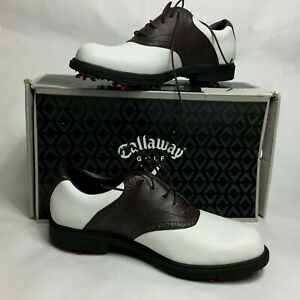 NWB Callaway Club Saddle Mens Size 9 Brown White Leather Golf Shoes $34.99