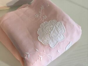 Vtg Pink Madeira Applique Embroidered Linen Banquet Tablecloth 66x105 as Is $125.00