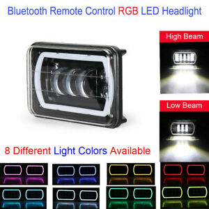 LED Headlights Lamps Bluetooth Control Remote RGB Cree H4 DRL w Projector 4x6 $119.37