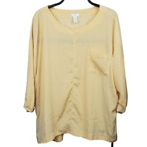 Chicos peasant blouse shirt top size 3 XL sz 16 maize yellow 3 4 sleeves tunic $10.99