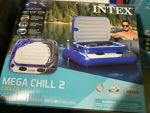 Intex Inflatable Mega Chill II Beverage Cooler Float With Lid Blueamp;White 72 can