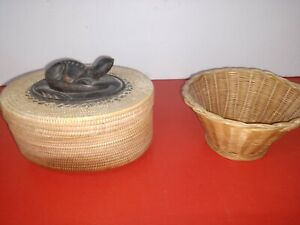 VINTAGE BASKETS 2 ONE COVERED WITH GECKO 2ND OPEN STYLE VISIT GOLDENHELL3898