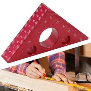 45 Degree Aluminum Alloy Angle Ruler Inch Metric Triangle Carpenter Woodworking $11.28