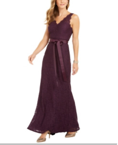 Adrianna Papell Lace V Neck Sash Gown MSRP $219 Size 18 # 10A 1658 Blm $39.99