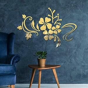 Mirror Wall Stickers Self Adhesive DIY Removable Mirror Plastic Flower Vine A...