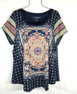 Lucky Brand Persian Carpet Graphic Scoop Neck Short Sleeve Tee Top Blouse 2X NWT
