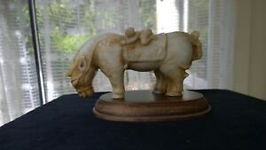 Large Heavy Humorous Antique Jade Statue Horse W Two Boys Rare Early Qing Dy.