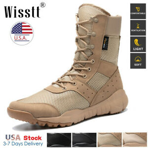 Men#x27;s Army Military Combat Boots Motorcycle Camping Hiking Tactical Work Shoes