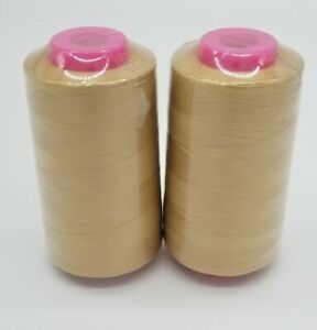 2 Pack LIGHT GOLD Serger Sewing Machine Thread 6000 YDS Cone T27 S2 Quality $10.99