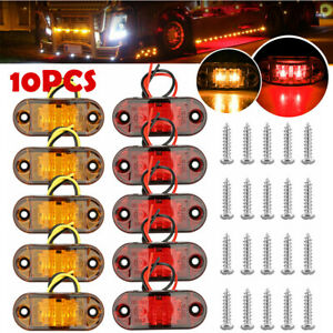 10PCS LED Car Truck Trailer RV Oval 2.5quot; Side Clearance Marker Lights