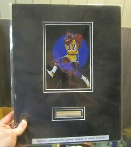Magic Johnson Los Angeles Lakers Basketball Star Lithograph and Game Used Floor $49.95
