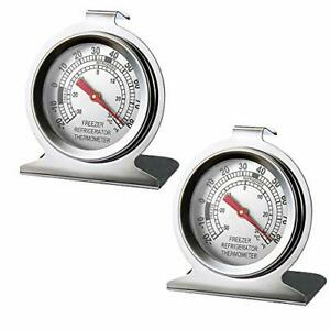 2 Pack Stainless Steel Refrigerator Freezer Thermometer Large Dial Thermometer