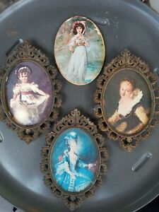 3 vtg small Italy brass ornate frames oval victorian style $44.99