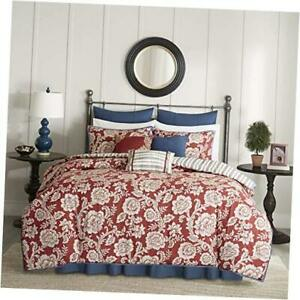 100% Cotton Duvet Set Beautiful Floral Cal King 104x92 Lucy Reversible Red