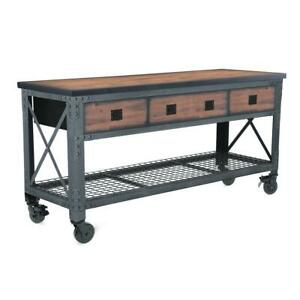 Rolling Industrial Workbench and Wood Top 72 in. x 24 in. 3 Drawers Vintage Look