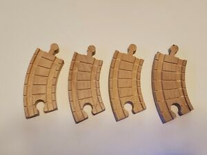 Lot of 4 Small Curved Thomas the Train Engine Clickity Clack Wooden Tracks 4quot; $4.95