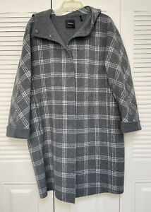 THEORY Womens Size L Letav Plaid Wool Cashmere Coat Hooded Gray $129.99