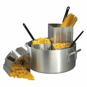 New Winware Winco 20 Qt Aluminum Pasta Cooker Set 4 Stainless Steel 18 8 Inserts