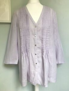 EAST Lilac Purple Pure Linen Tunic Top UK 16 Flared Pintucking Lightweight Loose GBP 21.99