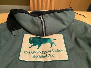 CHICAGO ZOOLOGICAL SOCIETY BROOKFIELD ZOO GREEN HOODED COAT JACKET MEN'S SZ XL