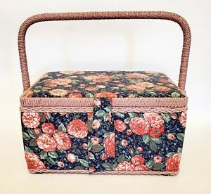 Vtg Roses Floral Fabric Covered Wooden Sewing Basket Box Pink trim Handle $25.99