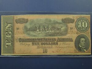 1864 $10 Ten Dollar Confederate CSA Richmond Paper Currency Note