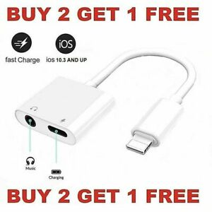 Dual Adapter 3.5mm Headphone Charger 2 in 1 Adapter for iPhone 12 11 XR XS X 8 $6.49