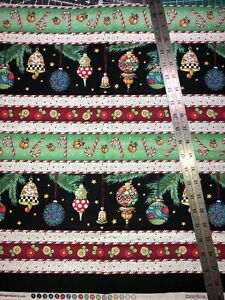 """Mary Engelbreit FQ Christmas Ornament Rows Cotton Fabric 18"""" By 22"""""""
