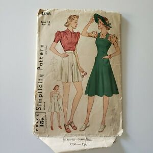 1940s Simplicity 3356 Vintage Sewing Pattern Tap Shorts And Puff Sleeve Dress $80.00